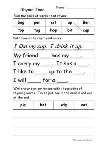 Rhyme Time Worksheet