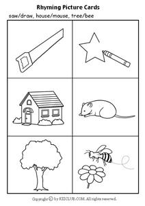 Rhyming Picture Cards Worksheet