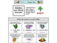 Riddles are Word Puzzles Worksheet