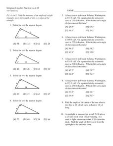 Right Triangle Trigonometry Worksheet for 10th Grade ...