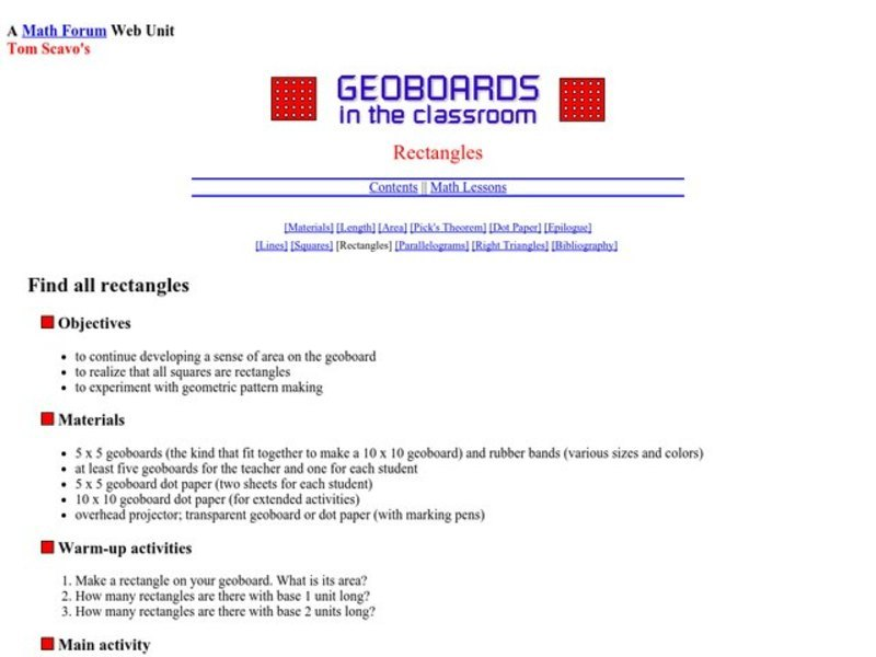 Rectangles Lesson Plan