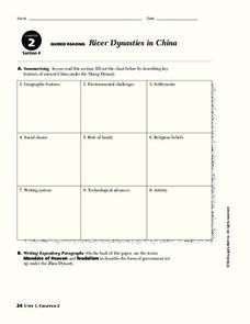 river dynasties in china worksheet for 9th 10th grade lesson planet. Black Bedroom Furniture Sets. Home Design Ideas