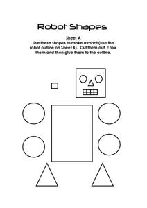 Robot Shapes Worksheet