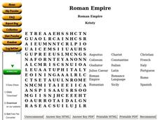 Roman Empire Worksheet
