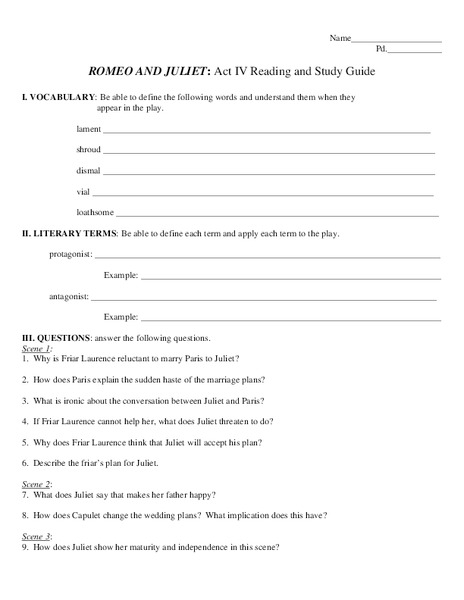 Romeo and Juliet: Act IV Reading and Study Guide Worksheet