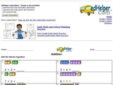 Addition with Counters Worksheet