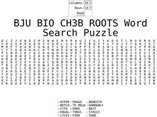 Roots Word Search Puzzle Worksheet