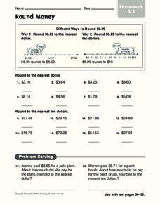 Round Money Worksheet