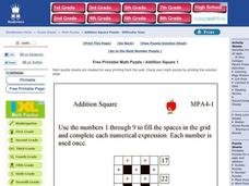 Addition Square Worksheet