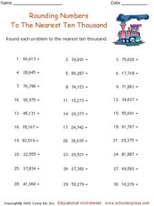 Rounding Numbers To The Nearest Ten Thousand Worksheet for 3rd - 5th ...