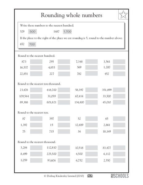 Rounding Whole Numbers Worksheet