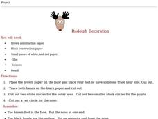 Rudolph Decoration Worksheet