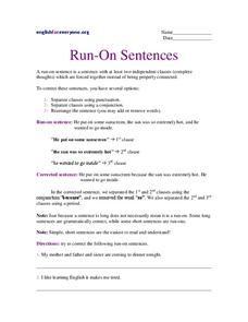 Run-On Sentences Worksheet