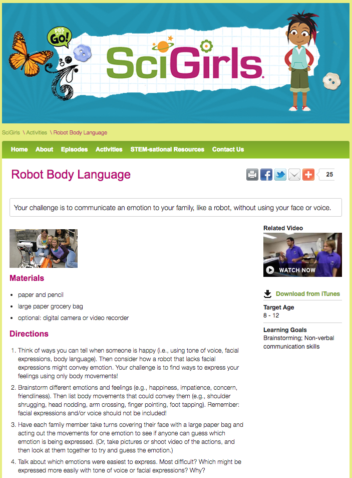 Robot Body Language Activities & Project