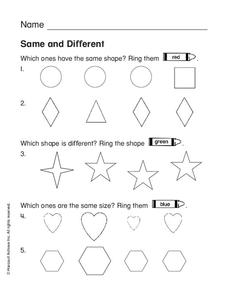 Same and Different Worksheet