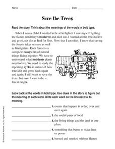 Save the Trees Worksheet