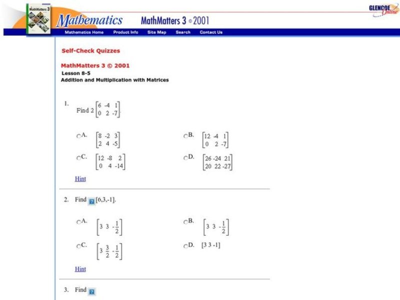 Scalar Multiplication Of Matrices Worksheet For 9th 12th Grade