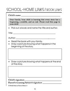 School-Home Links/Book Links Worksheet