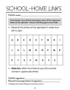 School-Home Links: Alphabet Worksheet