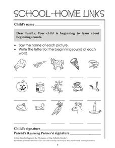 School-Home Links: Beginning Sounds Worksheet