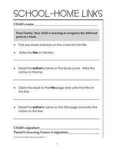 School-Home Links: Parts of a Book Worksheet