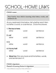 School-Home Links: Sentences Worksheet