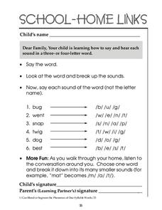 School-Home Links: Three and Four Letter Words Worksheet