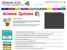 Science Quiz: Plants Worksheet for 4th - 5th Grade | Lesson Planet