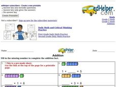 Addition: Missing Numbers Worksheet