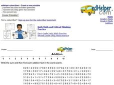 Addition Word Search Worksheet