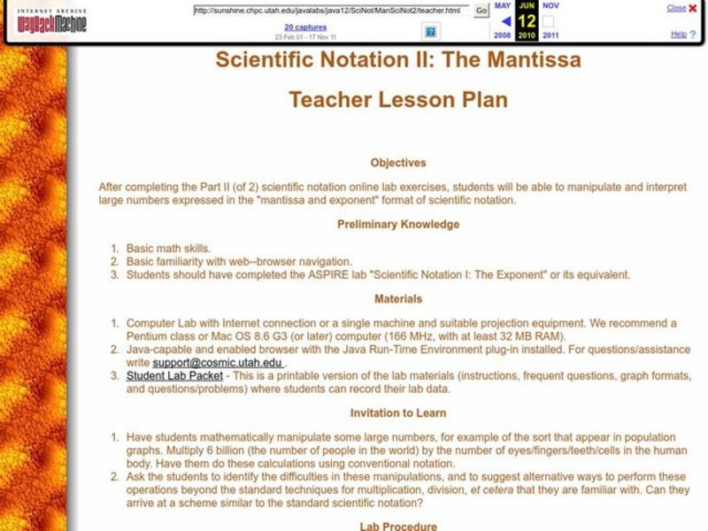 scientific notation ii  the mantissa lesson plan for 6th