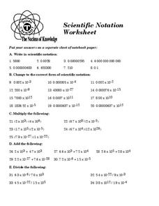 Scientific Notation Worksheet Worksheet