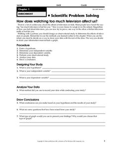 Scientific Problem Solving Worksheet