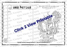 Sea Horses Worksheet