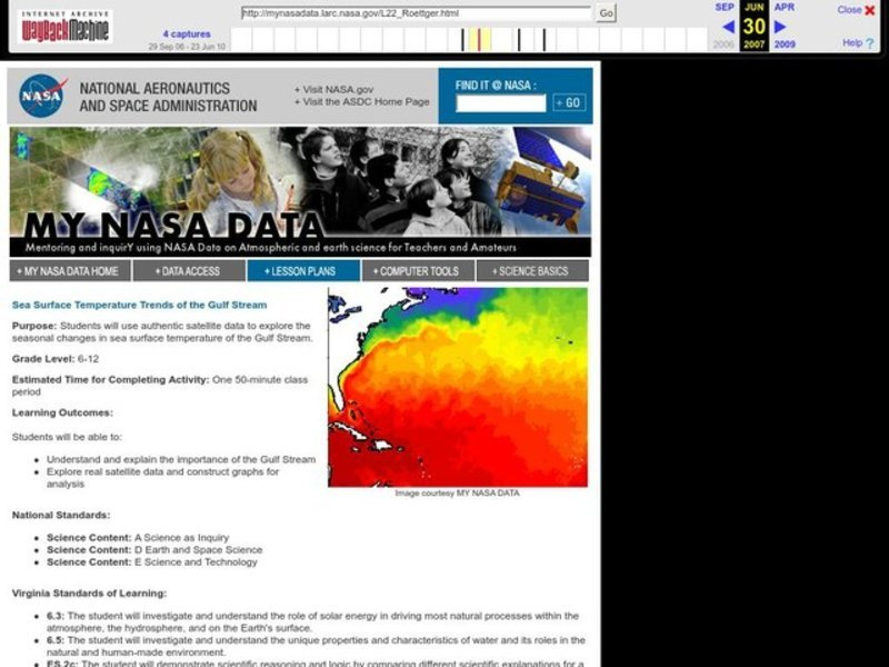 Sea Surface Temperature Trends of the Gulf Stream Lesson Plan