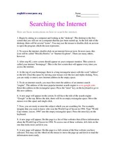 Searching the Internet Worksheet