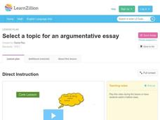 Select a Topic for an Argumentative Essay Video