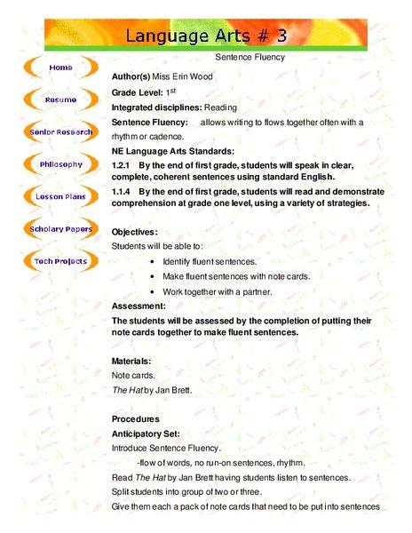 sentence fluency lesson plan for 1st grade