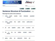 Sentence Structure and Punctuation Worksheet
