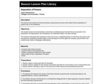 Separation of Powers Lesson Plan