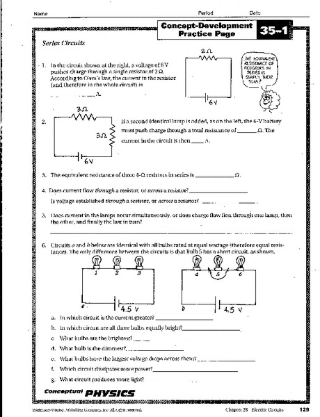 Series Circuits Worksheet for 9th - 12th Grade | Lesson Planet