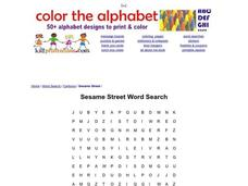 Sesame Street Word Search Worksheet