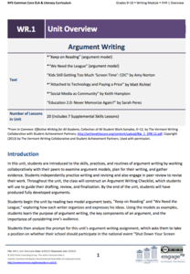 Grades 9-10 Writing Module, Unit 1: Argument Writing Unit