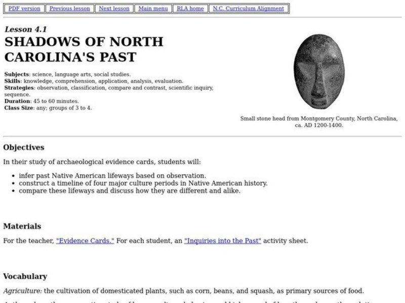 Shadows of North Carolina's Past Lesson Plan