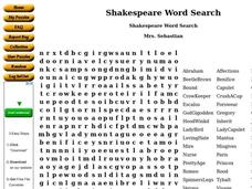 Shakespeare Word Search Worksheet