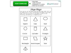 Shape Bingo Worksheet