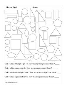 Shape Find Worksheet