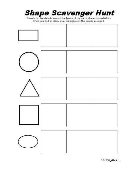 Shape Scavenger Hunt Worksheet for Kindergarten | Lesson Planet