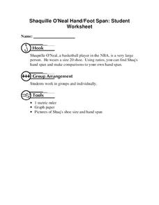 Shaquille O'Neal Hand/Foot Span Worksheet