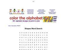 Shapes Word Search Worksheet